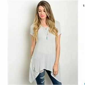 SWEET CLAIRE~GRAY~LACE~LIGHTWEIGHT~SWEATER/TUNIC